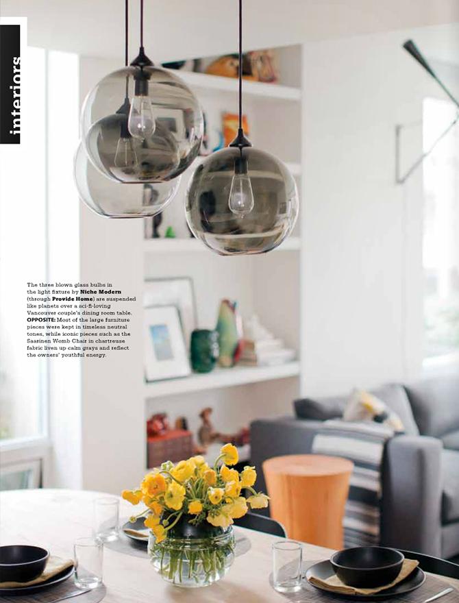 modern lighting inside Gray magazine