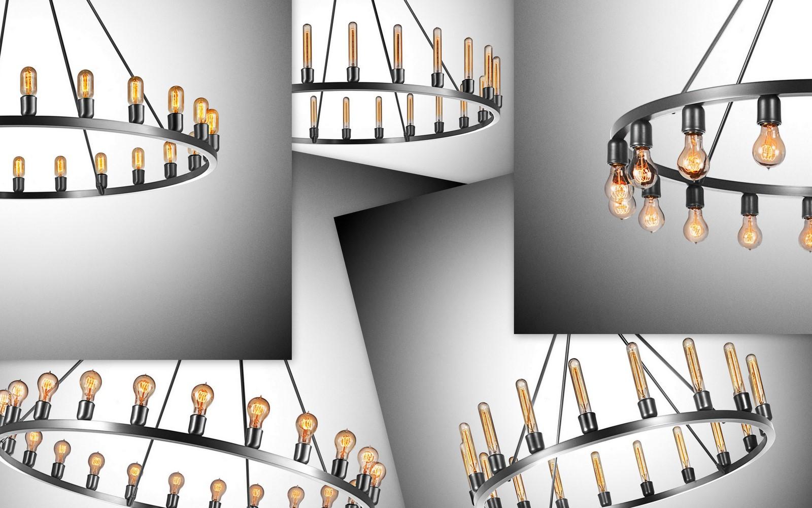 Spark Chandelier Showcases Bare Bulbs' Beauty