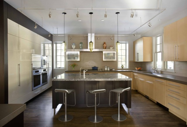 Kitchen Island Pendant Lighting in LEED-Certified Home