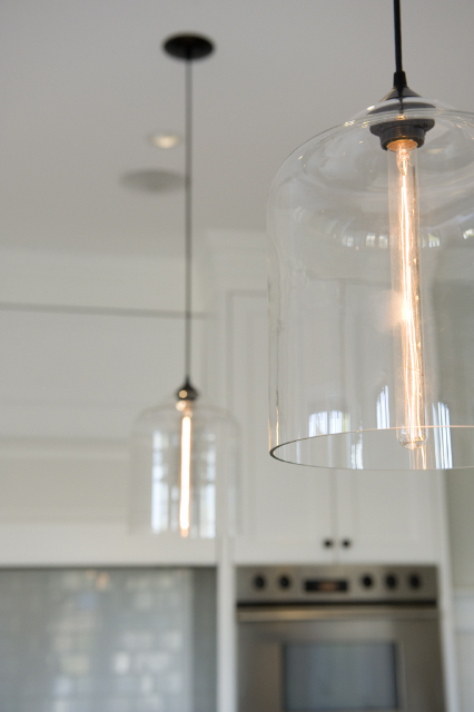 Contemporary Kitchen Lighting in Canadian Home - Crystal Bell Jars