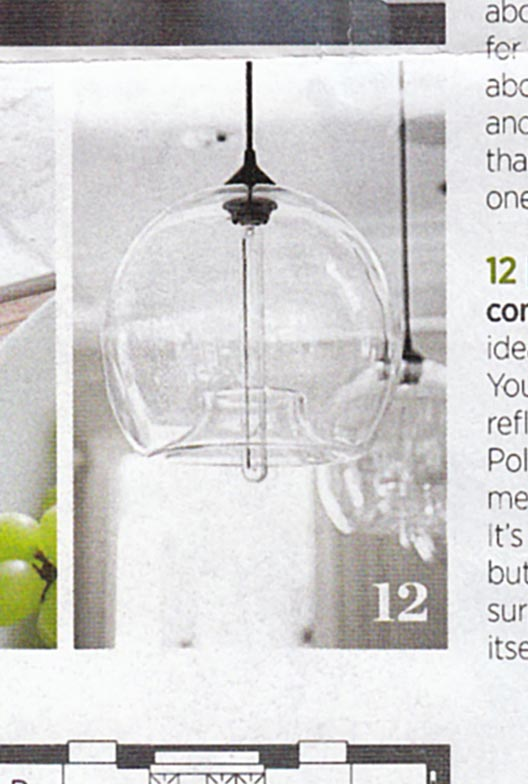 Kitchen Island Lighting Featured In Traditional Home Magazine - Modern glass pendants kitchen