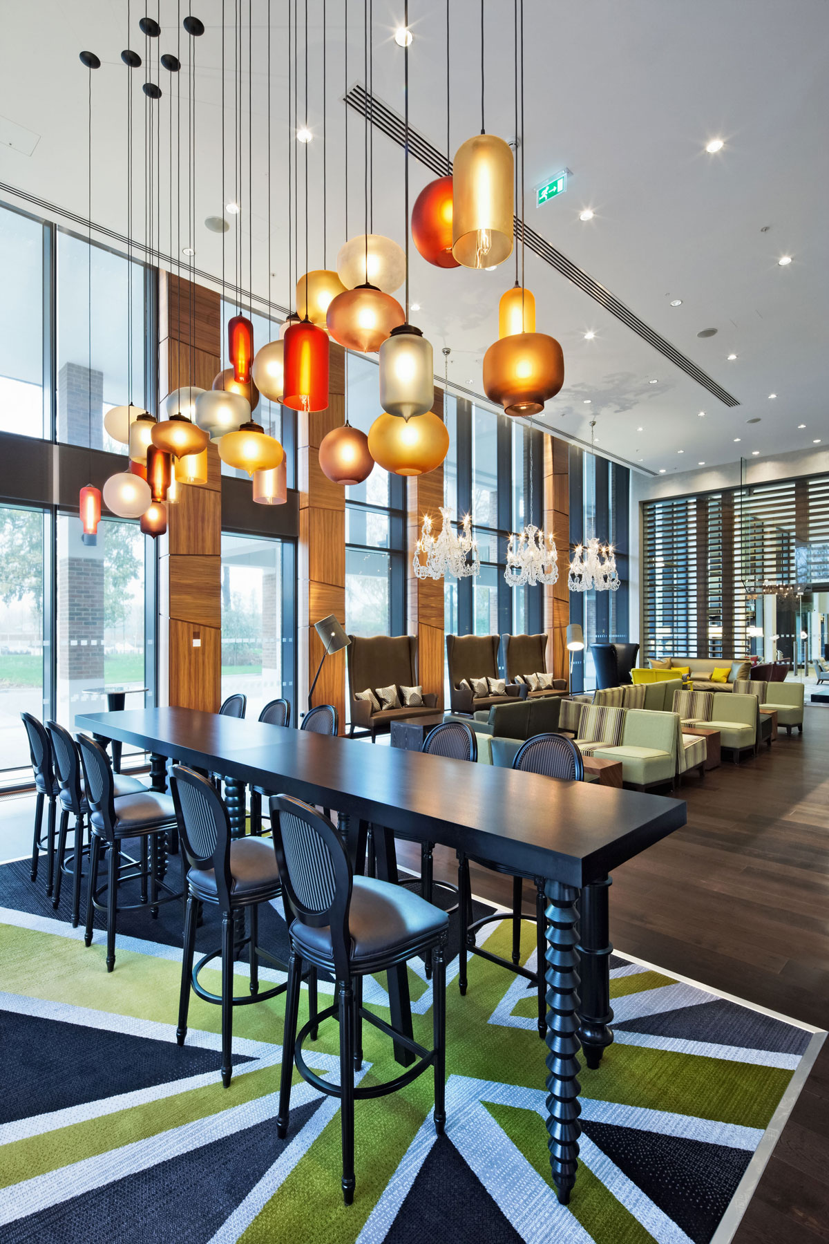 Niche modern pendant lights at the t5 hilton at heathrow in london niche modern pendant lighting in the hilton london heathrow airport aloadofball Gallery