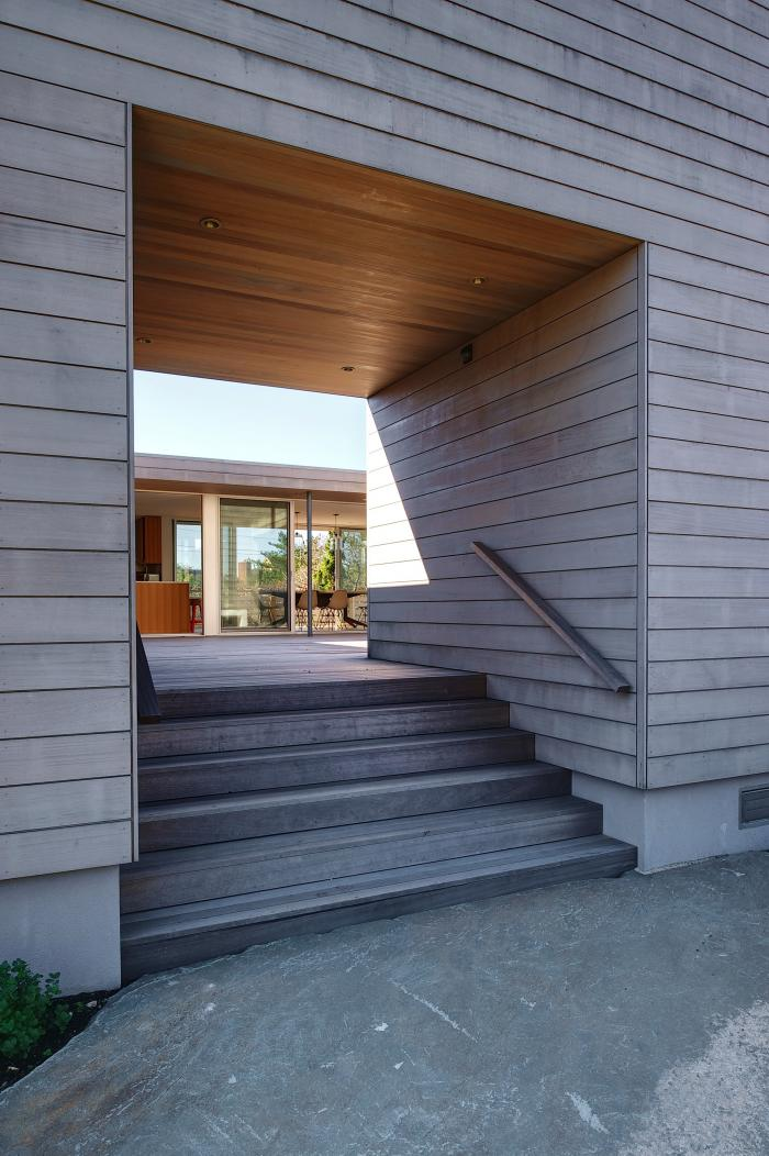 Looking into the Courtyard from the Exterior of this Amagansett Home