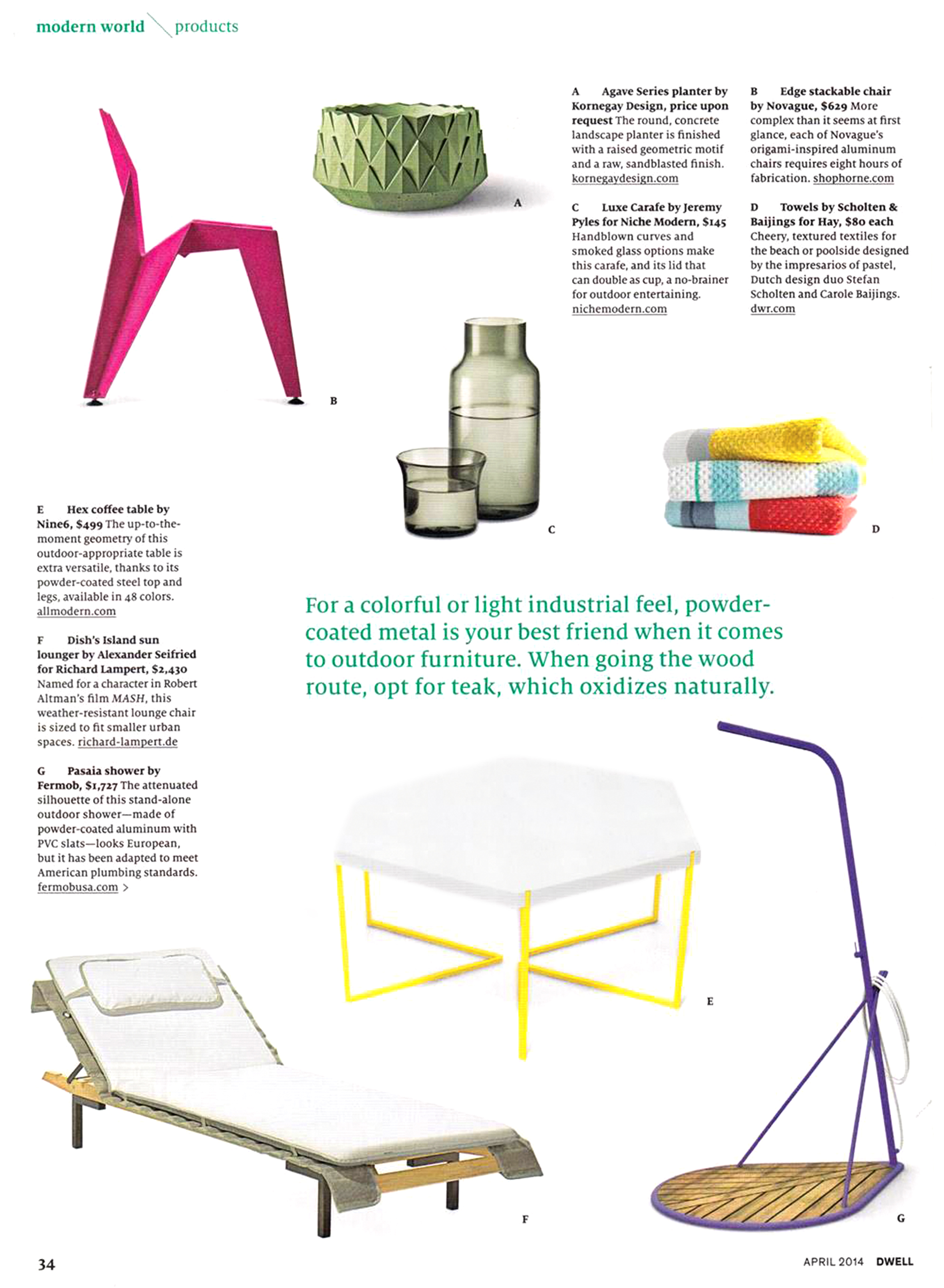 Niche Modern Luxe Carafe Set Featured in April Edition of Dwell Magazine
