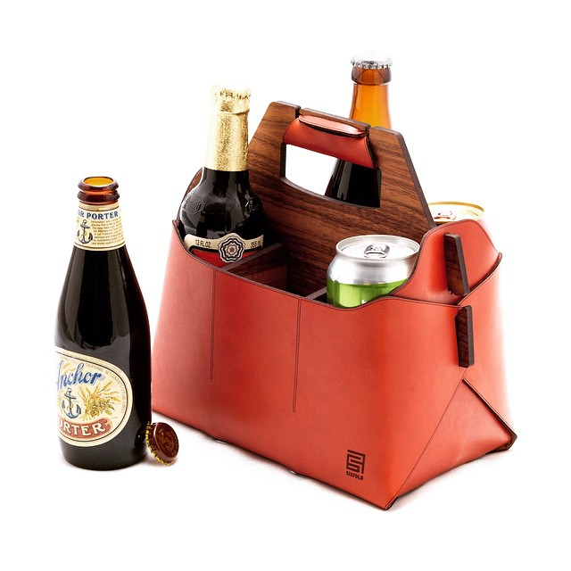 Sixfold handmade leather beverage carrier