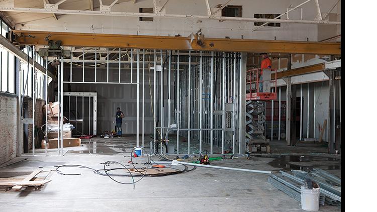 modern lighting company renovates interior of factory building