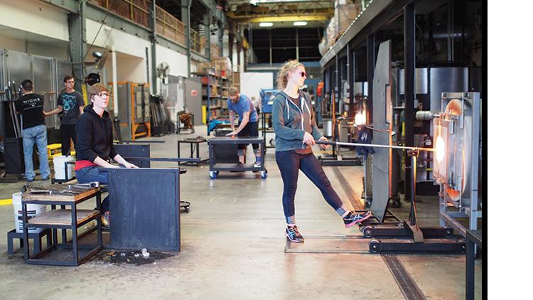 modern lighting company glassblowing facility