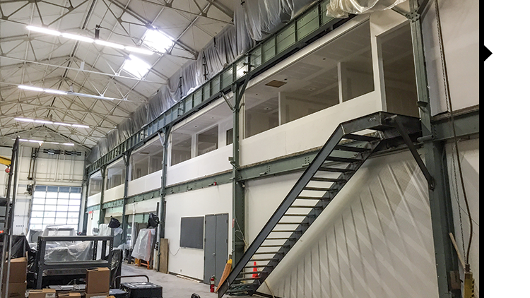 modern lighting company renovates mezzanine of factory building