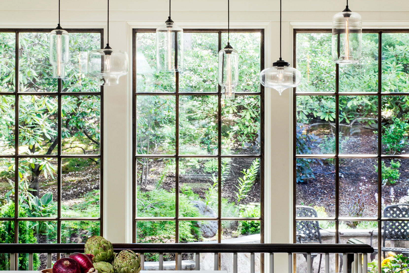 Modern Glass Entry Way Lighting - Mixed Crystal Glass Pendant Lights