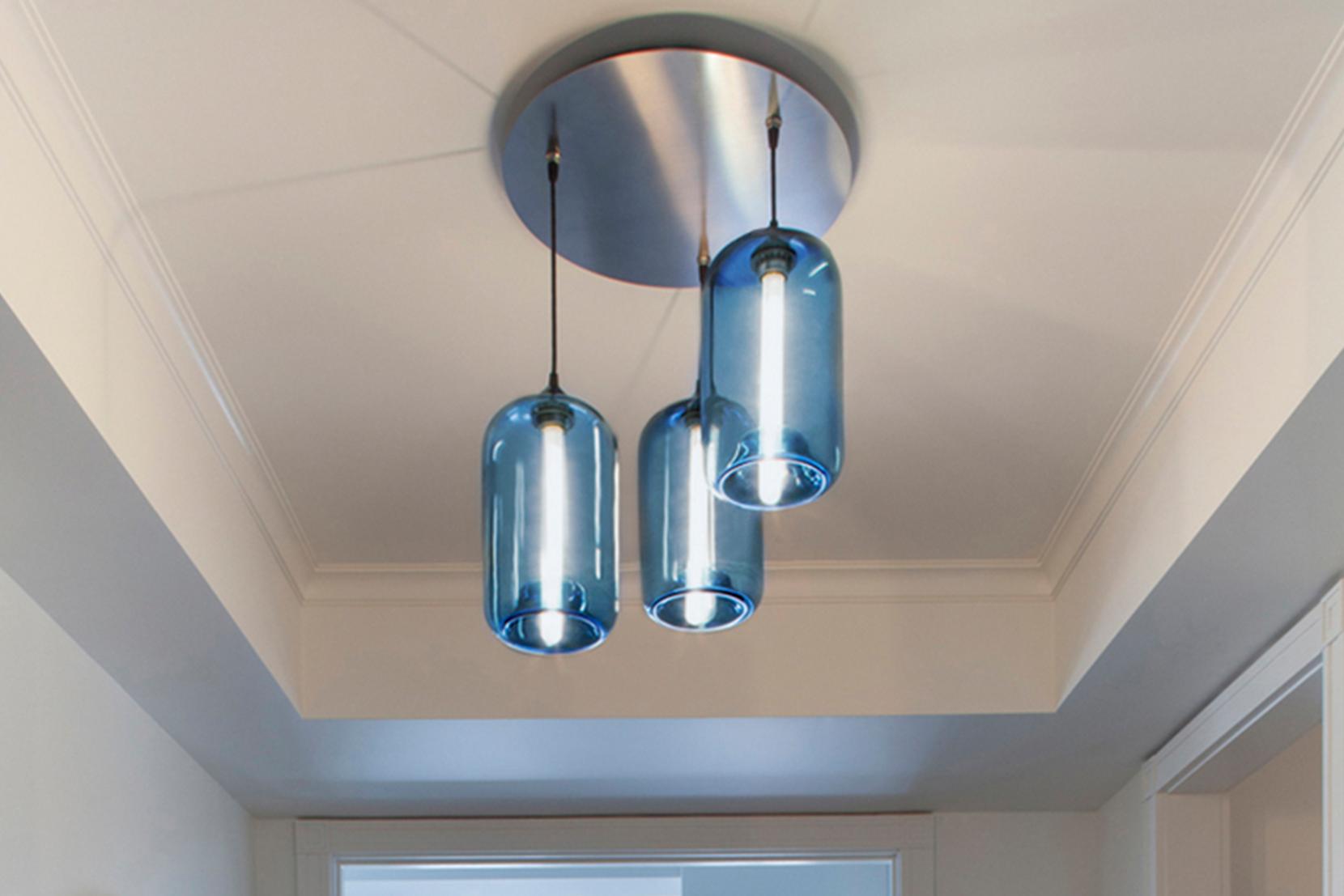 Modern Glass Entry Way Lighting - Circular 3 Sapphire Pod Pendant Lights