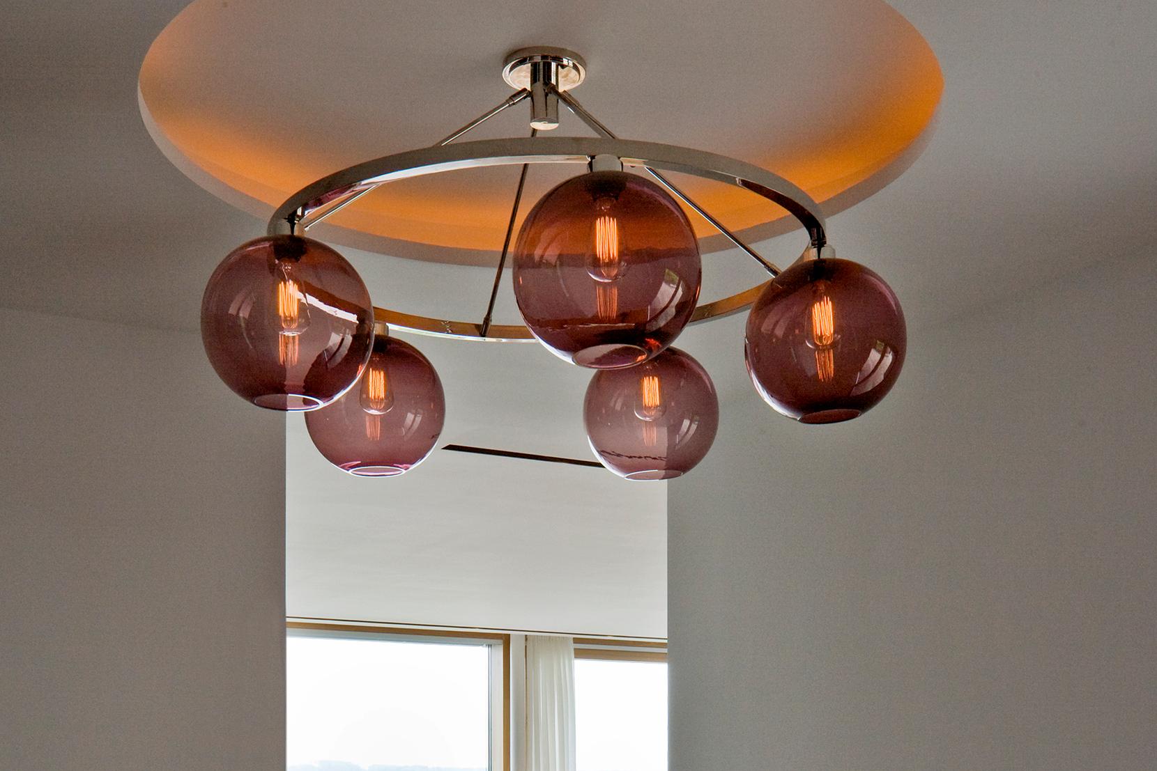 Modern Glass Entry Way Lighting - Plum Solitaire Chandelier