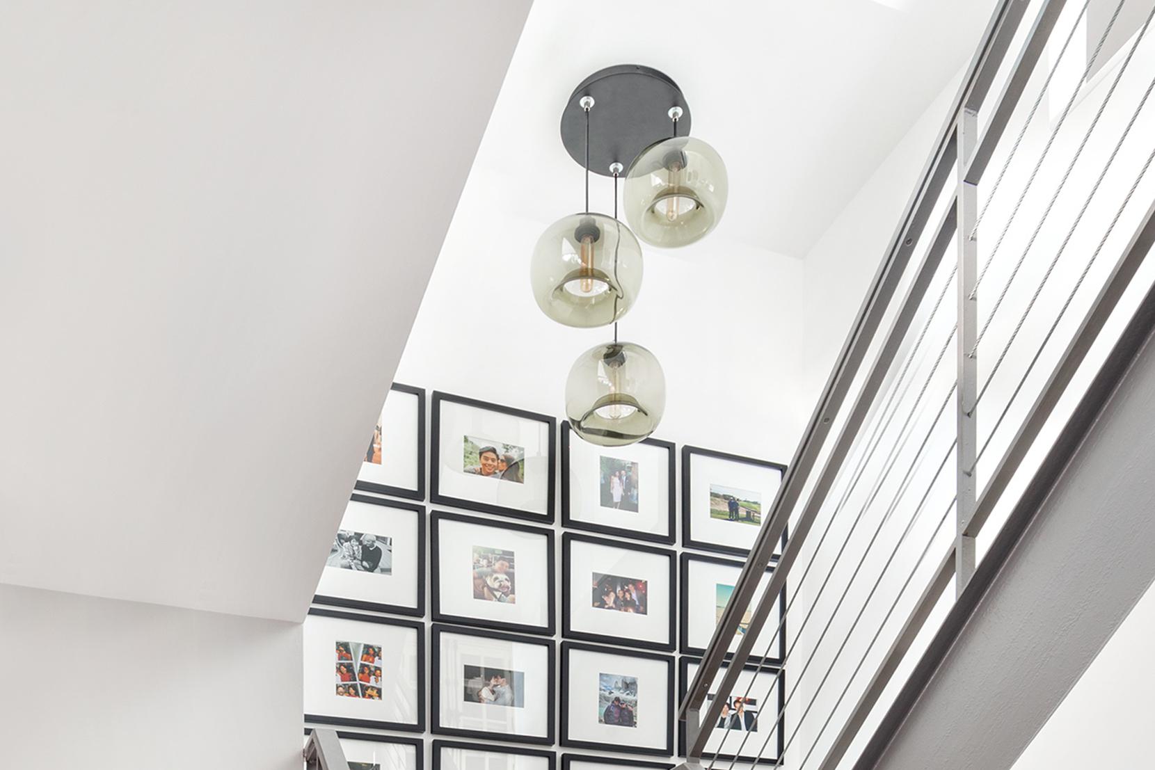 Modern Glass Entry Way Lighting - Smoke Encalmo Stamen Pendant Lights