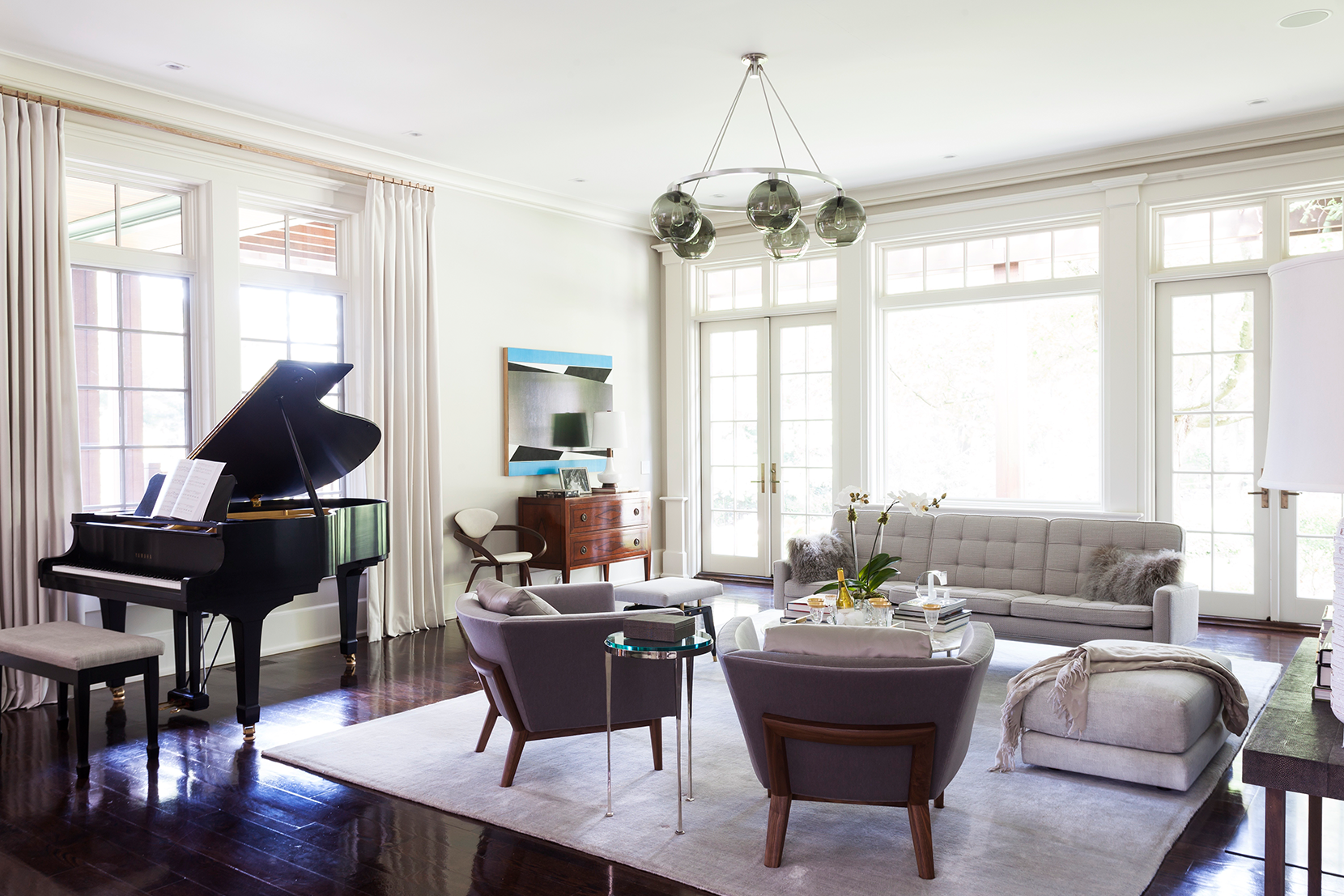 Modern Glass Living Room Lighting - Gray Solitaire Chandelier