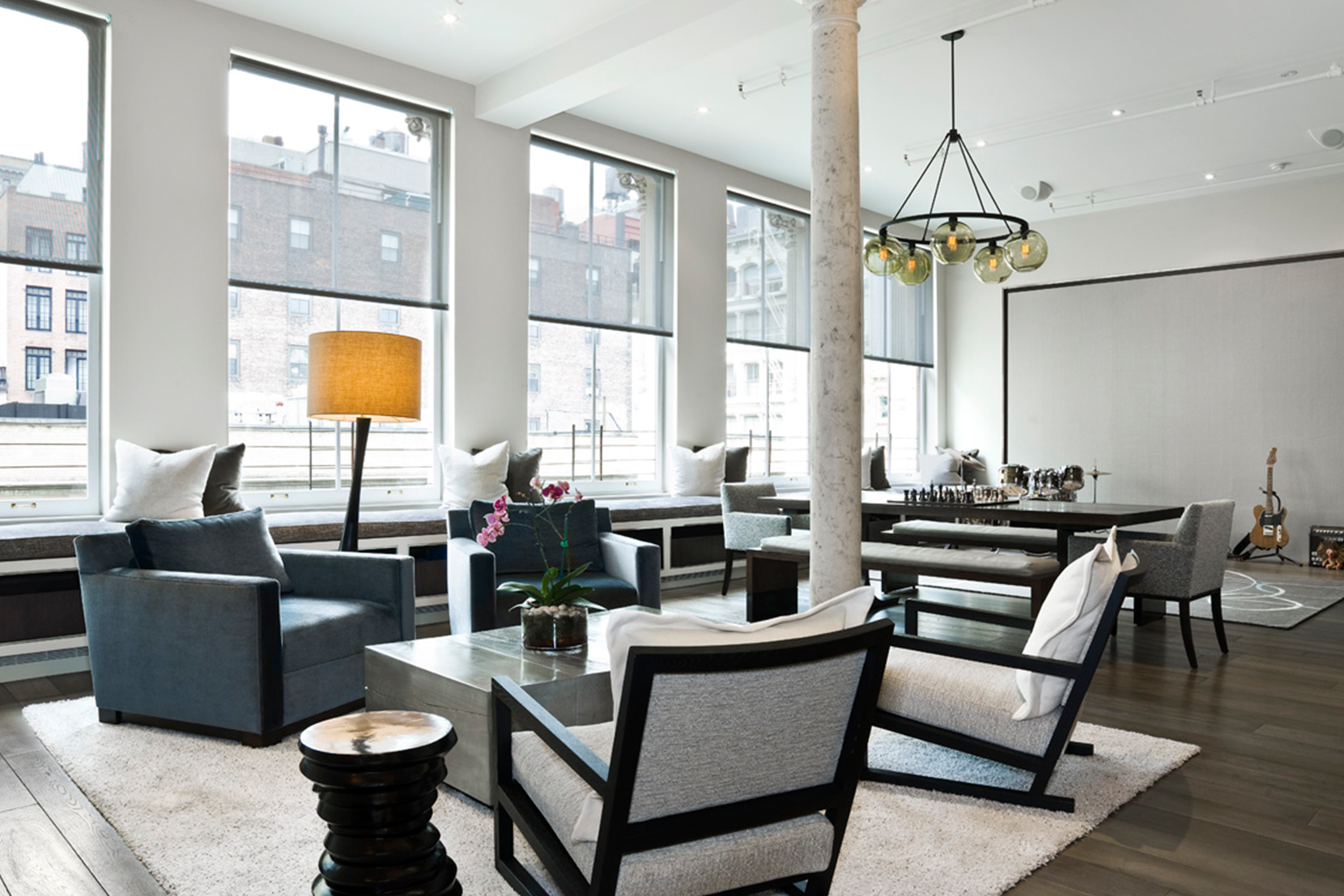 Modern Glass Living Room Lighting - Smoke Solitaire Chandelier