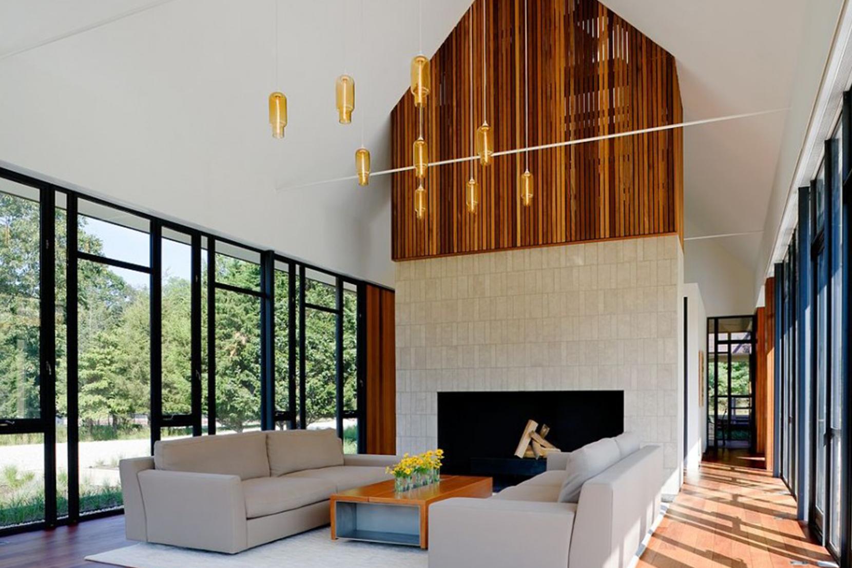 Modern Glass Living Room Lighting - Amber Pharos Pendant Lights