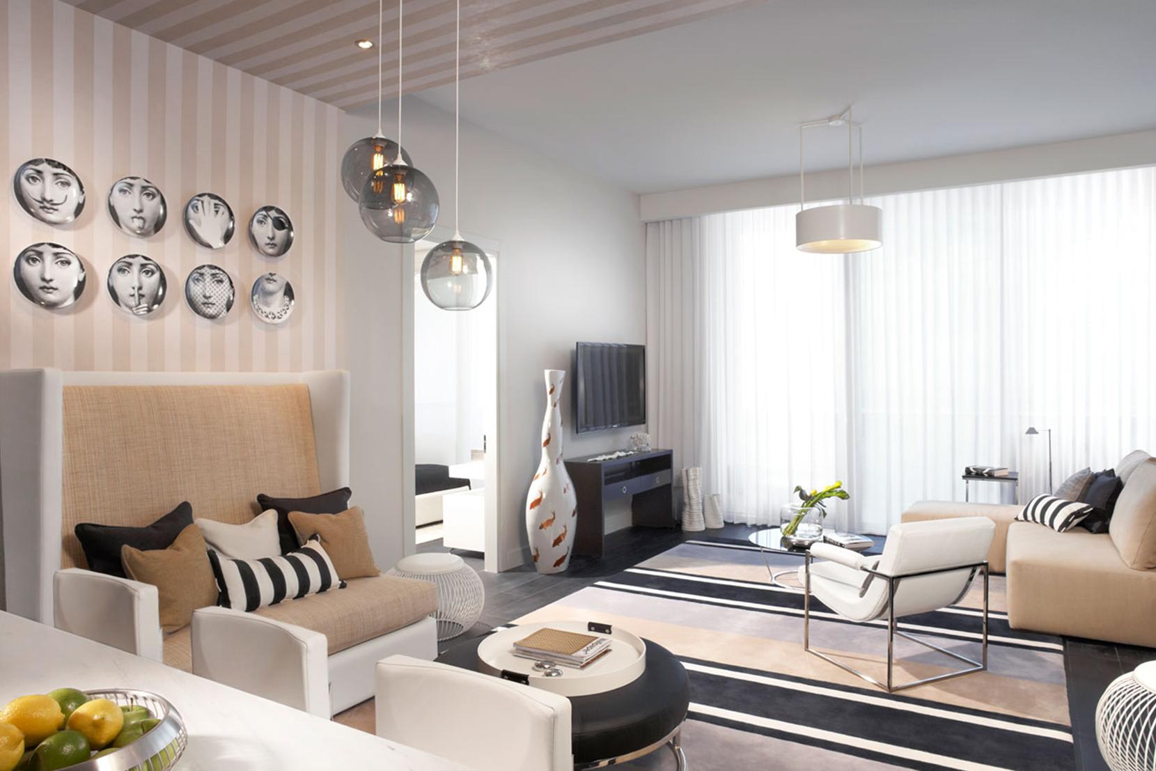 Modern Glass Living Room Lighting - Gray Solitaire Pendant Lights