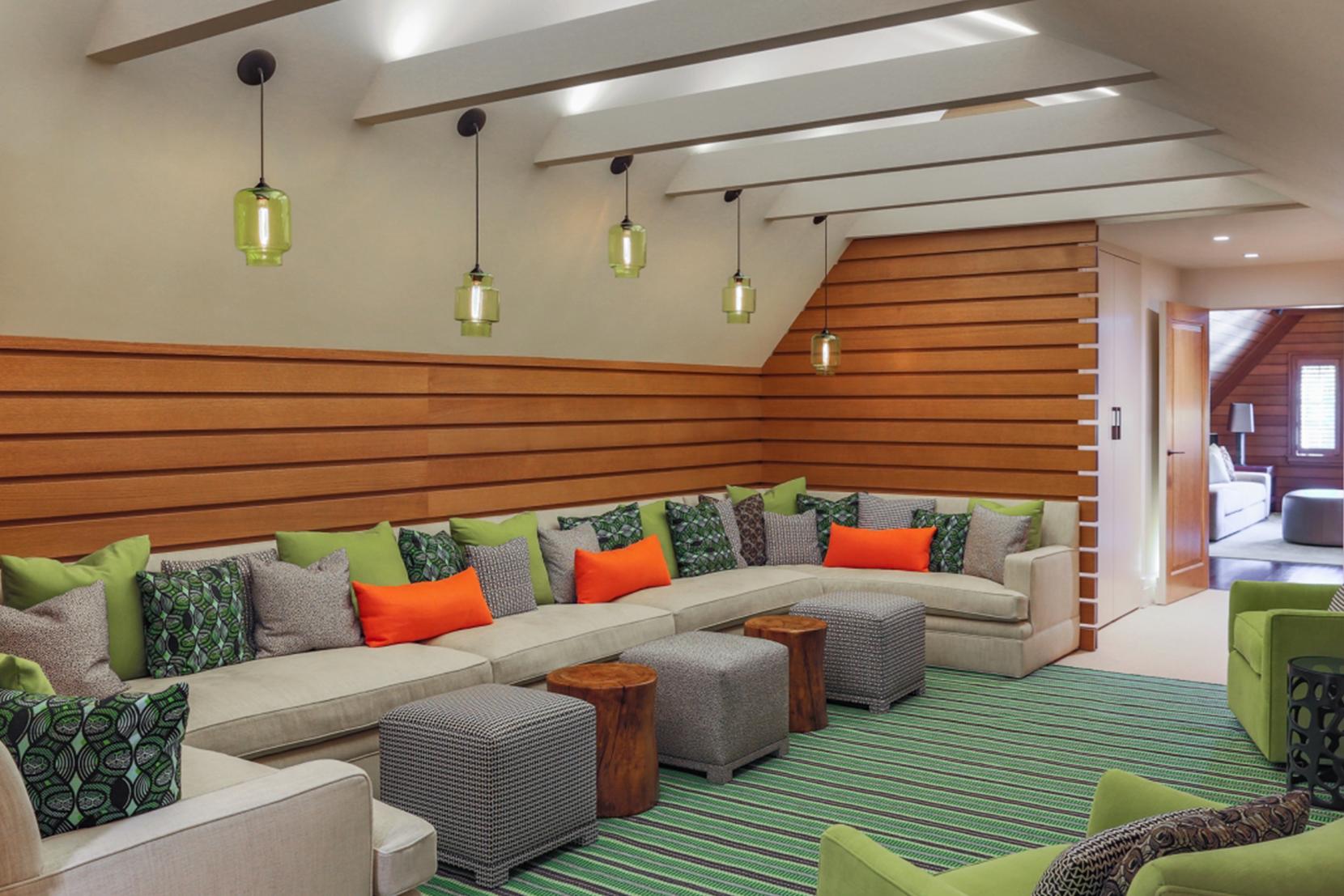 Modern Glass Living Room Lighting - Chartreuse CrystallinePendant Lights