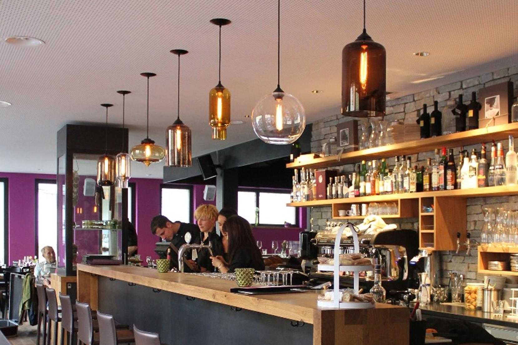 Modern Glass Restaurant Lighting - Mixed Glass Pendant Lights