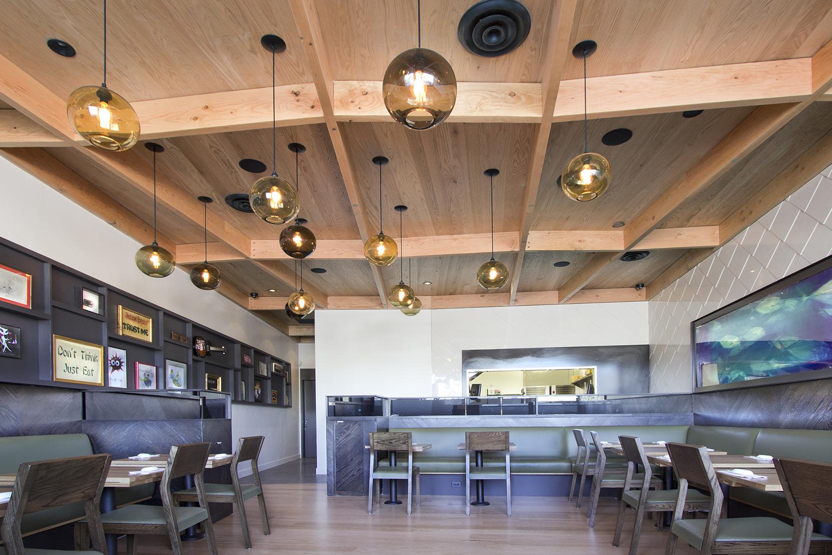 Modern Glass Restaurant Lighting - Solitaire Pendant Lights