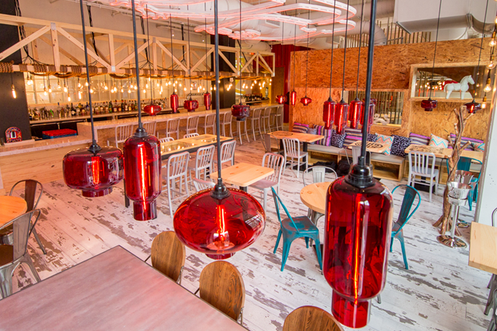 Modern Glass Restaurant Lighting - Crimson Pendant Lights