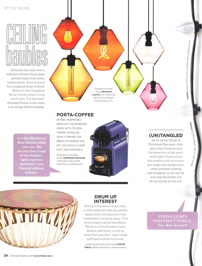 modern lighting inside Style at Home magazine