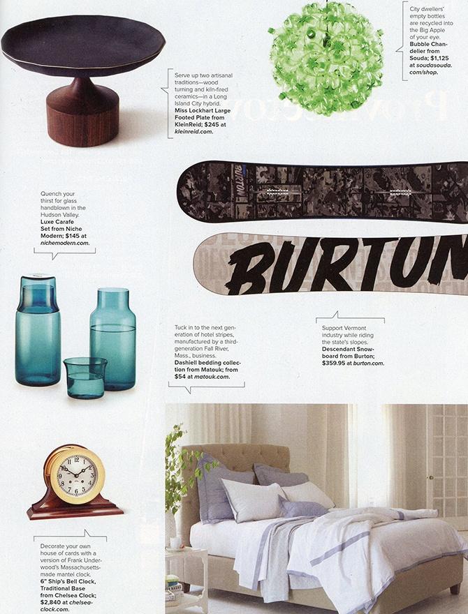 modern glass carafe inside Arrive magazine