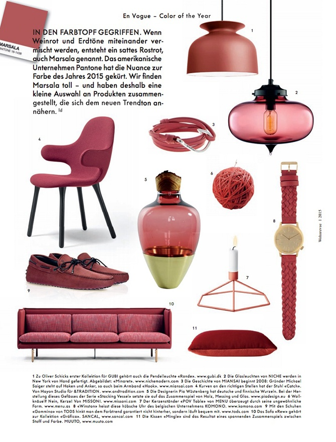 modern lighting inside Wohnrevue magazine