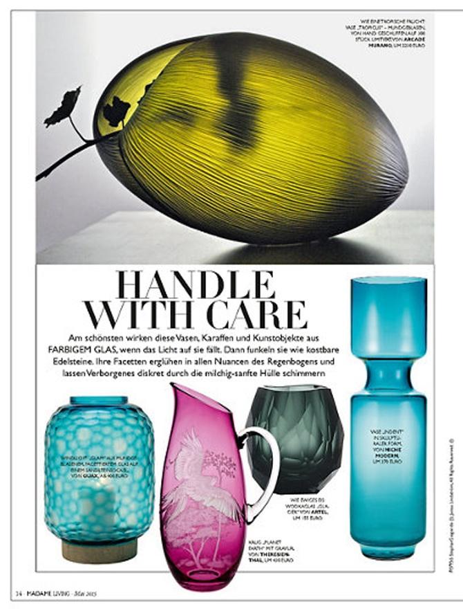modern glass vase inside Madame magazine