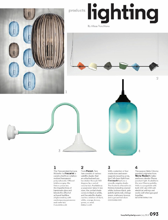 modern lighting inside Hospitality Design magazine