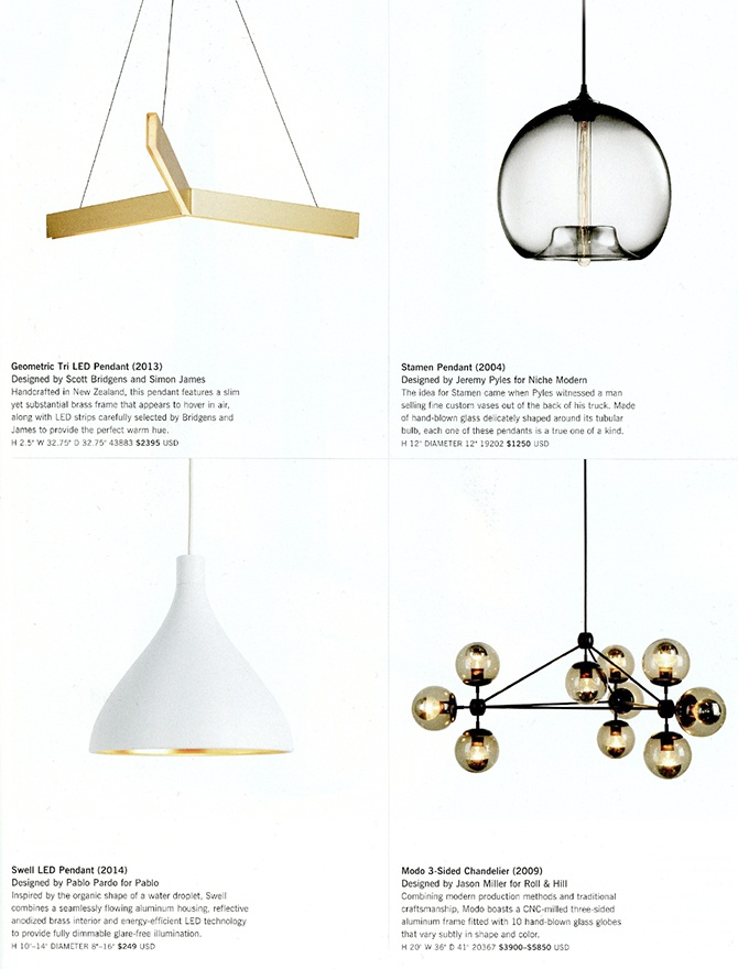 modern lighting inside Design Within Reach catalog