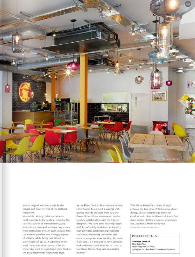 modern restaurant lighting inside Darc magazine