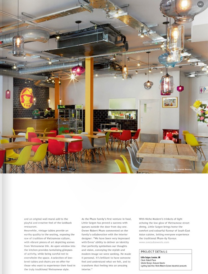 modern restaurant lighting inside Darc magazine