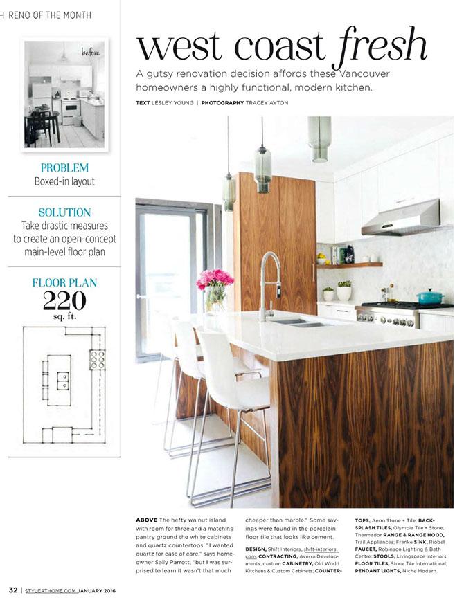 modern kitchen lighting inside Style at Home magazine